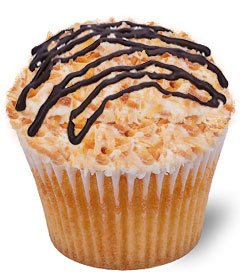Samoa Cupcake - chocolate and toasted coconut on coconut cake - Sweet Carolina Cupcakes; Hilton Head Island's favorite cupcake bakery; 29928